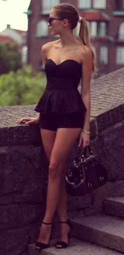 Black Peplum Romper: Women S, Summer Outfit, Dream Closet, Spring Summer, Black Outfit, Peplum Top, Black Peplum