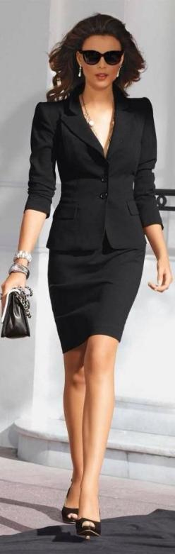 Business classy - can never go wrong with a properly fitted black suit - great for mixing a matching as well - Elegant: Women S, Business Attire, Workoutfit, Black Suits, Work Outfits, Business Suits, Skirt Suit