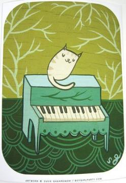 Cat Piano Art Print: Cat Art, Feline Art, Art Prints, Artist Susie, Cat S, Art Cat, Floor Art