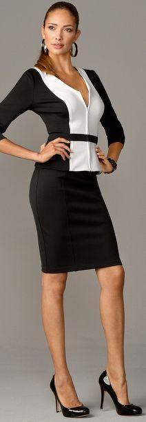 classic: Dressforsuccess Workstyle, Office Fashion, Boston Proper, Black And White, Dresses Skirts, Skirt Suit, Black Pencil Skirts, Fashion Suits