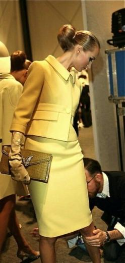 Elegant! Call me old fashion but i LOVE! the 50's & 60's i love how classy women used to dress :): Women S, Style, Mellow Yellow, Dress, Outfit, Skirt Suit