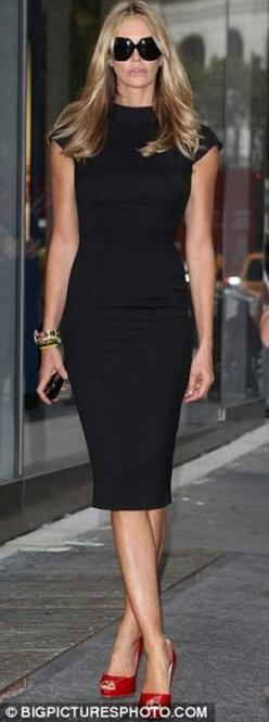 I'm not usually a fan of the LBD, but this is a great look on Elle Macpherson and I love the red shoes that break up to color.: Red Shoes Heels Outfit, Fashion Style, Street Style, Red Shoes Black Dress, Red Heels Outfits, Little Black Dresses, Black