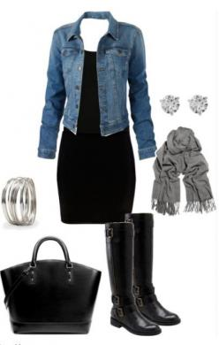 I have all of these pieces!  It's good to see how others put together wardrobe basics!: Chic Outfit, Outfit Idea, Dream Closet, Black Boots, Jean Jackets, Denim Jackets, Work Outfit, Fall Winter, Black Dress