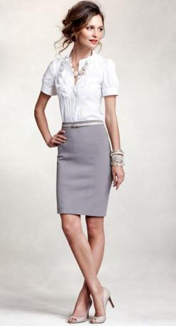 I would rock this if I had to dress nice for work!!....soft gray pencil skirt, white mid-sleeve blouse with ruffle detailing, peep-toe pumps, belt, chunky necklace, and a wrist-full of silver bangles: Work Clothes, Gray Pencil Skirt, Workoutfit, Pencil Sk
