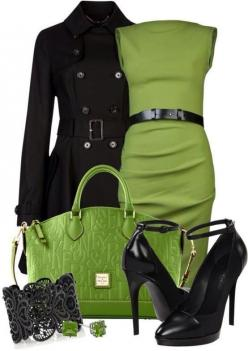 La Petite S***** dresses, Ted Baker coats and Donna Karan pumps.: Women S, The Dress, Green Black, Green Dress, Green Outfit, Work Outfits, Mystyle, My Style