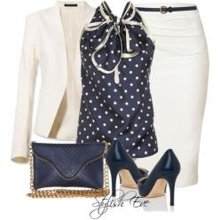 love the polka dot with this white ensemble. time to lose some weight to pull this off in summer: Formal Wear, Polkadot, Pencil Skirts, Work Outfits, Skirt Suit, Blue Polka Dots, Shirt