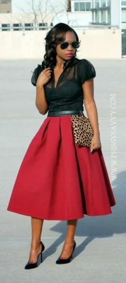 Love the skirt: Black Pump, Black Prissy, Sheer Top, Dress, Red Skirts, Prissy Savvy
