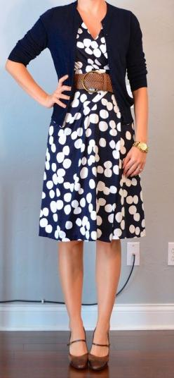 navy & white polka-dot dress, navy cardigan, wide woven belt: Navy Cardigan, Navy Dress, Work Outfits, Navy White, Teacher Outfits, Polka Dot Dress