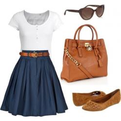Navy blue classic skirt, nice white tee, and brown flats. Could wear to work when I need to be a little dressier.: Work Clothes, Professional Outfit, Fall Outfit, Work Outfits, My Style