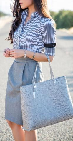 Pencil skirt and neutrals: Celebrity Street Style, Corporate Outfit, Striped Shirts, Pencil Skirts, Work Outfits, Pencil Skirt Work, Grey Pencil Skirt