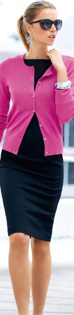 Purple cardigan, black tight pencil skirt. Formal office work #women #fashion outfit #clothing style apparel @roressclothes closet ideas: Fashion Outfit, Black Pencil Skirt Outfits, Clothing Style, Black Sheath Dress, Black Tights Outfits, Cardigans Outfi