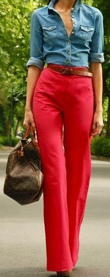 Super belted high-waisted pants: High Waist Pants, Fashion Style, Chambray Shirts, Denim Shirts, Red Pants