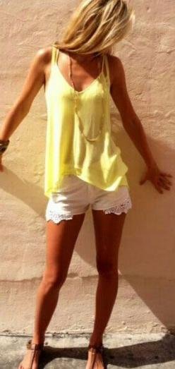 Super cute summer outfit with yellow tank and white lace shorts. LOVE!: Summer Fashion, White Shorts, Summer Yellow, Dream Closet, Summer Style, White Lace Shorts, Cute Summer Outfits, Yellow Tank Top