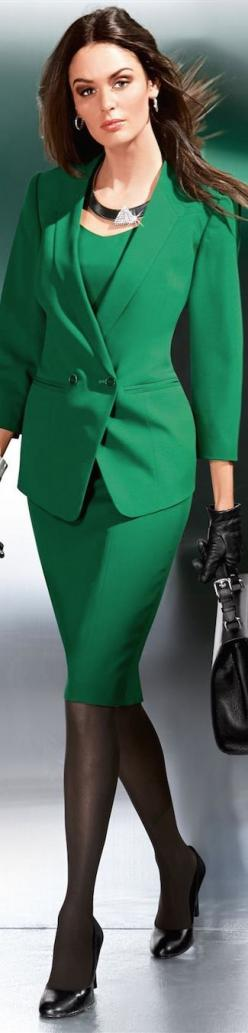 Women love fashion - the color story of green - pretty vip woman in green suit - #Thejewelry hut: And Dresses, Emerald Green, Green Suit, Work Suits, Pencil Skirts, Dresses Suits Skirts, Shades Of Green, Fashion Suits