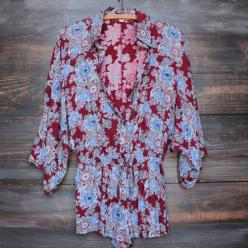 boho paisley romper with button up front - burgundy – shop hearts