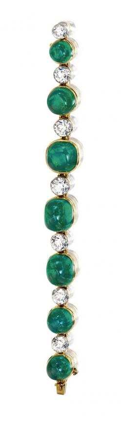 CABOCHON EMERALD AND DIAMOND BRACELET, CARTIER,  NEW YORK, 1923.  Cabochon emeralds weighing approximately 70.00 carats, old European-cut diamonds weighing approximately 9.50 carats, mounted in 18 karat gold and platinum, length 6¼ inches, engraved on two