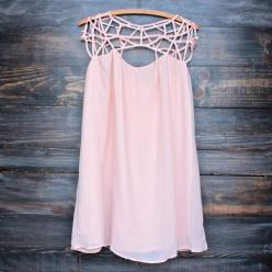 caged up flowy chiffon dress in blush