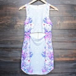 floral cut out bodycon dress