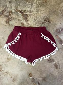 Garnet Gameday Short with White Tassels