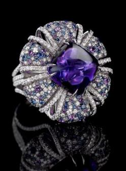 Jay Carlile Amethyst Ring / 29ct cabochon amethyst stone set with diamonds and amethysts