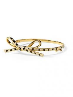 Kate Spade New York Skinny Bow Bangle in Black & White Stripe, Piperlime $78 & FREE Shipping