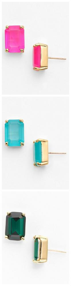 Kate Spade stone stud earrings in every color of the rainbow.
