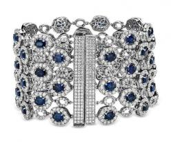 Oval Sapphire and Pavé Diamond Wide Bracelet in 18k White Gold (24.64 ct. tw.) | Blue Nile