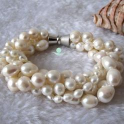 Pearl Bracelet - 7-8 inches 4-10mm 4 Row White Freshwater Pearl Bracelet - Free Shipping on Etsy, $12.00