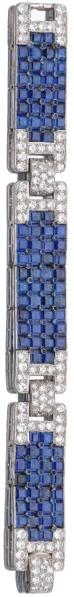 Sapphire and diamond bracelet, Cartier, circa 1930. The three calibré-cut and cabochon sapphire panels alternating with stylised buckle motifs pavé-set with brilliant- and circular-cut diamonds, mounted in platinum, length approximately 162mm, signed Cart