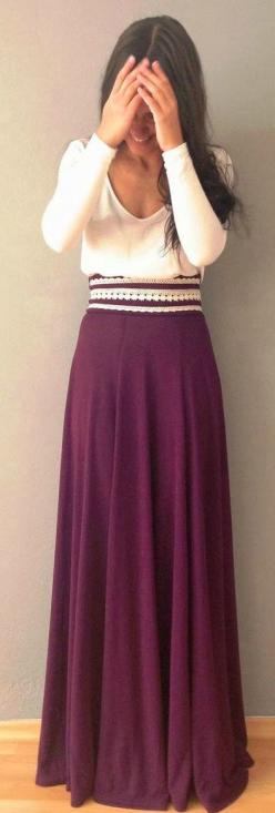 Sleeved blouse with maxi skirt and fancy belt. This is so perfect. Why do I have to be so short.