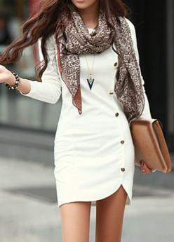 white button dress: Fashion, Style, Outfit, Dresses, Long Sleeve, The Dress, White Dress