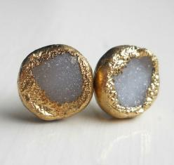 White gold dipped druzy stud earrings by jennleedesign on Etsy