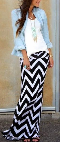 Who doesn't love a chevron maxi skirt?  Comfortable and easy to pair with other things.