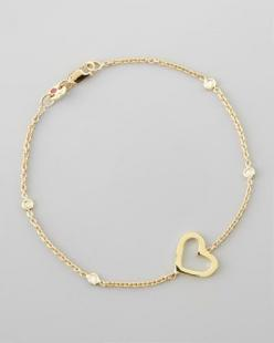Yellow Gold Heart Diamond Bracelet by Roberto Coin at Neiman Marcus.