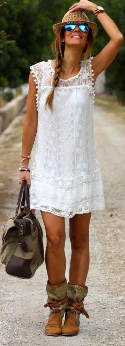 Awesomeness of the lace work on the outfit: Boho Chic, Summer Dress, Summer Style, White Dress, Boho Style, Bohemian Style