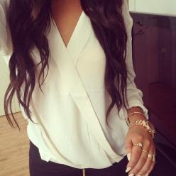 Crossover top....and the accessories!: Fashion Style, Dream Closet, White Shirts, White Blouses, White Top