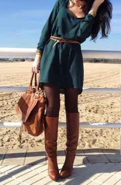 green dress, tall boots: Falloutfit, Fall Style, Outfit Idea, Fall Outfit, Fall Fashion, Fall Winter Outfit