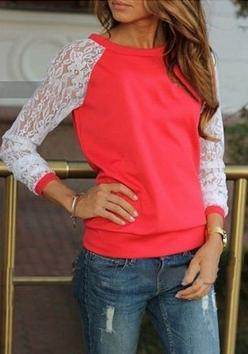 Love the color of this sweater.  Also love the lace and how comfy it looks!  Cute even to wear as a stay at home mom! :): Hoodies Sweatshirts, Tops Blouses Shirts, Red Lace Top, Pullover Sweatshirts, Lace Sleeve Tops, Cute Sweatshirts, Sweatshirts Tops