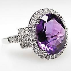 Amethyst & Diamond Halo Cocktail Ring Solid 14K White Gold Natural Amethyst Oval cut 3.2ct. 11.1X8.8MM Stone  with 44 1mm Round White Diamond Accent stones, color H-I clarity SI2-I1 0.33tcw.