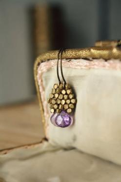 Amethyst Brass Earrings  Earthy Spring by CaprichosaJewelry - these lovelies are on their way to me.