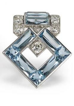 Art Deco aquamarine and diamond brooch, Cartier.