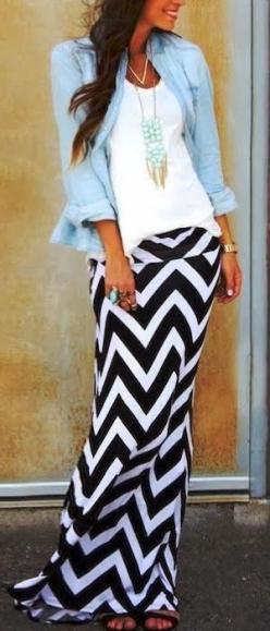 Black Chevron Maxi Skirt. Love this skirt. #Fashion #MaxiSkirt #Chevron