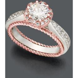 Blush By Design Diamond Ring, 14k White And Rose Gold Certified Diamond Flower Ring SO PRETTY!!!