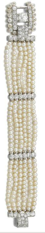 Diamond and pearl bracelet. Cartier, 1930's.k