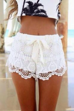 Fashion Lovers -- these shorts w/ a lace overlay are the prettiest I've ever seen...