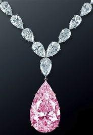 Graff 70-carat light-pink diamond drop on a white diamond necklace. Amazing!