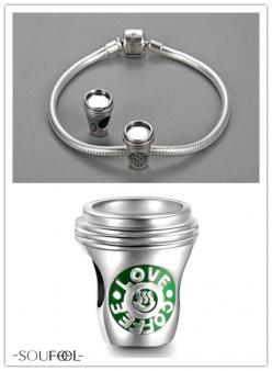 Silver Love Coffee Charm 925 Sterling Silver. A cup of hot coffee can warm you up .