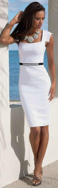 Simply classic little white dress and statement necklace: Fashion, Summer Dress, Style, Statement Necklace, Classy White Dress, Dresses, Outfit, Sheath Dress