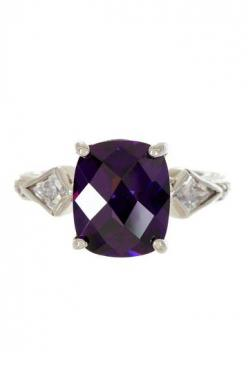 Sterling Silver Amethyst Cushion & CZ Band Ring