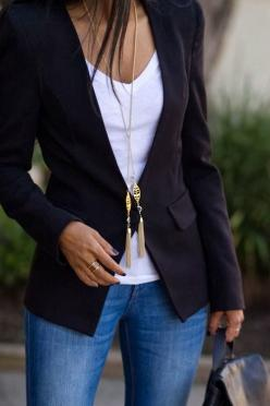 style fashion women apparel clothing outfit black jacket blazer blue jeans white shirt casual fabulous office outfit: Fashion, T Shirt, Style, White Tee, Outfit, Casual Fridays, Black Blazers